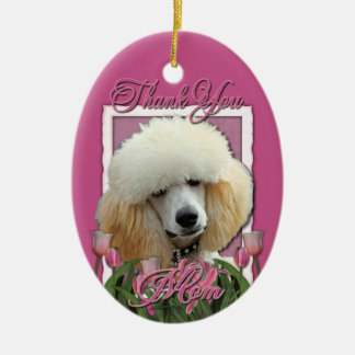Thank You - Pink Tulips - Poodle - Apricot Ceramic Ornament