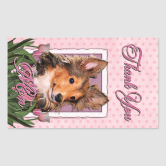 Thank You - Pink Tulips - Sheltie Puppy - Cooper
