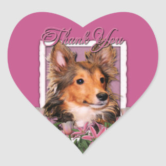 Thank You - Pink Tulips - Sheltie Puppy - Cooper Heart Sticker