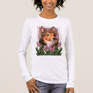 Thank You - Pink Tulips - Sheltie Puppy - Cooper Long Sleeve T-Shirt