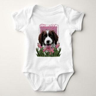 Thank You - Pink Tulips - Springer Spaniel -Baxter Baby Bodysuit