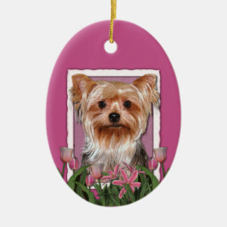 Thank You - Pink Tulips - Yorkshire Terrier Ceramic Ornament