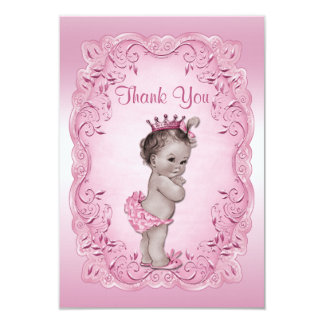 Thank You Pink Vintage Princess Baby Shower Card