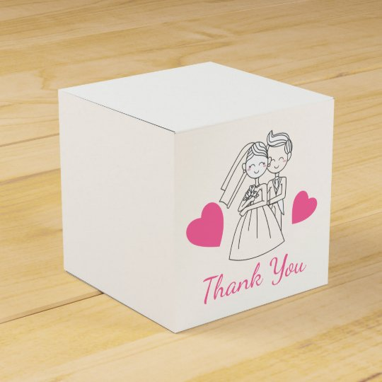 Thank You Pink Wedding Bride & Groom Hearts Favor Box