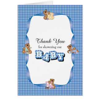 Thank You Plaid with Baby Bears | Baby Boy Shower Card