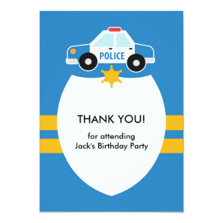 "Thank You Police Theme Card 5"" X 7"" Invitation Card"