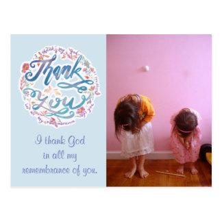 Thank You Post Card(customizable) -Philippians 1:3 Postcard