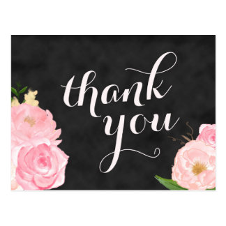 thank you postcard | chalkboard pink floral