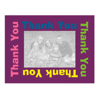 Thank You Postcard - Purple Multi Colour Frame