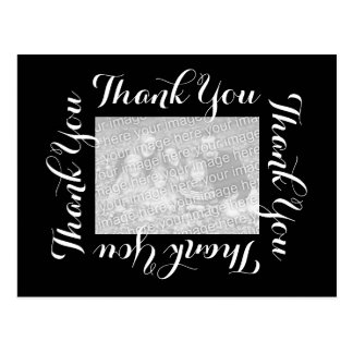 Thank You Postcard w Photo - Black & White Script