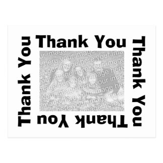 Thank You Postcard with photo  - White and Black