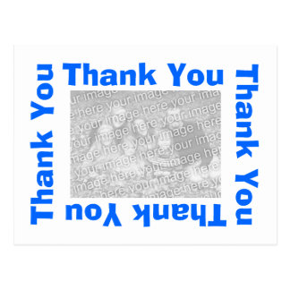 Thank You Postcard with photo  - White and Blue
