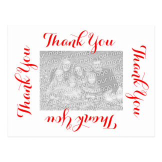 Thank You Postcards - Red Script with Photo