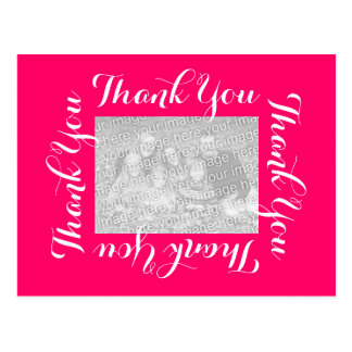 Thank You Postcards with Photo - Pink Script