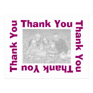 Thank You Postcards with photo - White and Purple