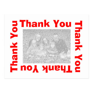 Thank You Postcards with photo  - White and Red