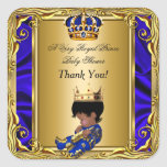 Thank You Prince Royal Blue Baby Shower Regal Gold Square Sticker