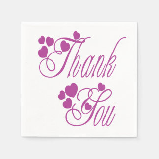 Thank You Purple And White Hearts - Wedding Party Paper Napkins
