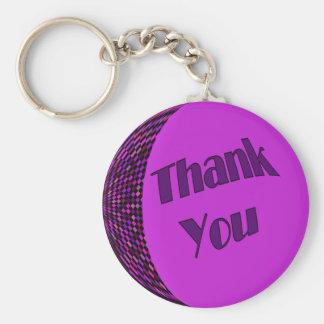 Thank You Purple Basic Round Button Keychain
