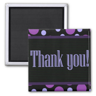 Thank You Purple Dots Black Background Square Magnet