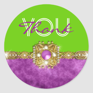 Thank you purple green hollywood round sticker