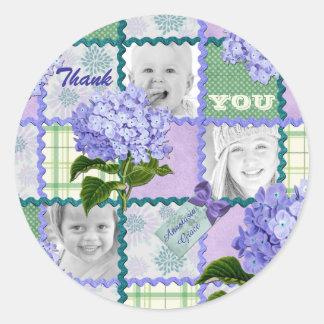 Thank You Purple Hydrangea Instagram Photo Quilt Classic Round Sticker