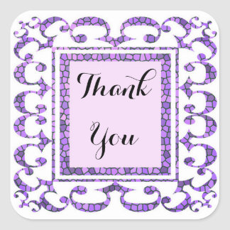 Thank You Purple Mosaic Stained Glass Lacy Frame Square Sticker
