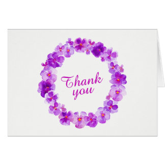Thank you purple pansy wreath art card