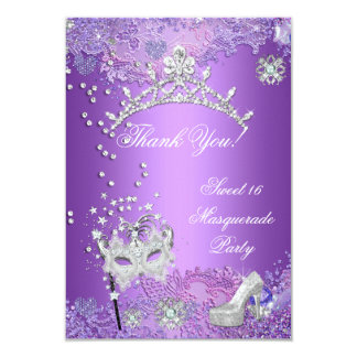 "Thank You Purple Sweet  Sixteen 16 Masquerade 3.5"" X 5"" Invitation Card"