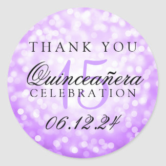 Thank You Quinceanera Birthday Purple Bokeh Lights Round Sticker