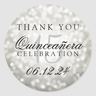 Thank You Quinceanera Birthday Silver Bokeh Lights Classic Round Sticker