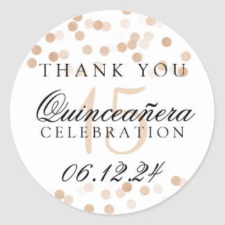 Thank You Quinceanera Copper Foil Glitter Lights Round Sticker