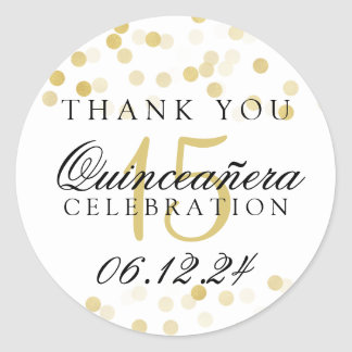 Thank You Quinceanera Gold Foil Glitter Lights Round Sticker
