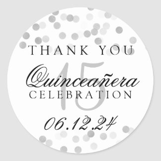 Thank You Quinceanera Silver Foil Glitter Lights Round Sticker