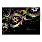 Thank You Rainbow Stars Flourish Gold Confetti Card