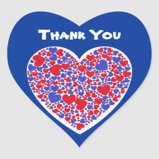 Thank You, red and blue hearts, white & blue Heart Sticker