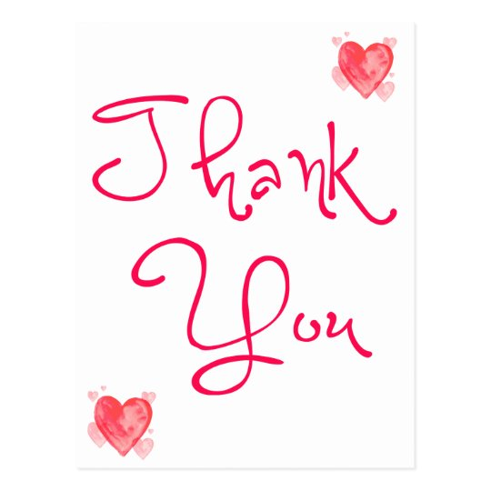 Thank You Red And Pink Heart Watercolor Postcard