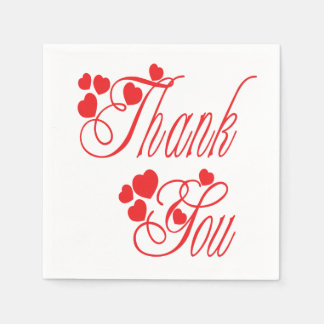 Thank You Red And White Hearts - Wedding Party Disposable Napkins