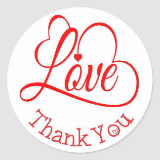 Thank You Red And White Love Heart Wedding Round Sticker