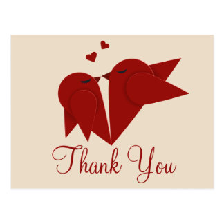 Thank You Red Burgundy LovebirdsPink Wedding Postcard