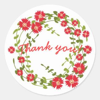 Thank you red flower wreath romantic round sticker
