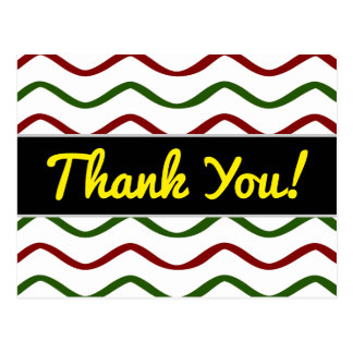 """Thank You!"" + Red & Green Wavy Lines Pattern Postcard"