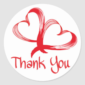 Thank You Red Hearts Love Stickers
