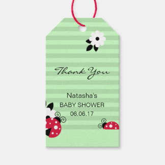 Thank You Red Ladybug Green Mint Lime Baby Shower Pack Of Gift Tags