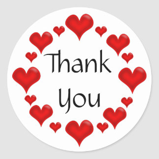 Thank You, Red Love Hearts Classic Round Sticker