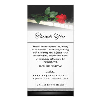 Thank You Red Rose on Piano - Words Cannot Express Card
