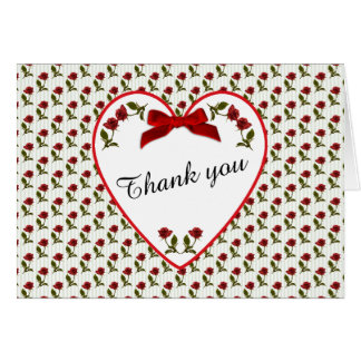 """Thank You"" Red Roses Floral Photography Card"