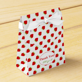 Thank You | Red Strawberry Pattern Tent Favor Box