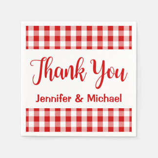 Thank You Red & White Checks Gingham Plaid Disposable Napkins