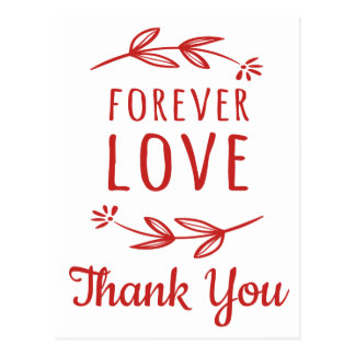 Thank You Red, White Love Laurel Leaves Wedding Postcard